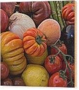 Basket Of Fruits And Vegetables Wood Print
