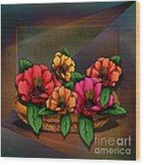 Basket Of Hibiscus Flowers Wood Print