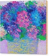 Basket Of Hydrangeas Wood Print