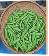 Basket Of Organic Fresh Sugar Snap Peas Art Prints Wood Print