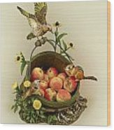 Basket Of Peaches And Flicker Wood Print by Mary Mcgrath