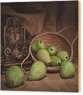 Basket Of Pears Still Life Wood Print