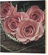 Basket Of Roses Wood Print