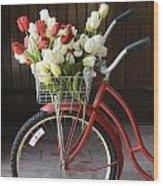 Basket Of Tulips Wood Print