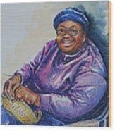 Basket Weaver In Blue Hat Wood Print by Sharon Sorrels