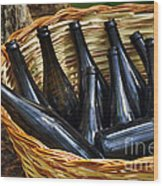 Basket With Bottles Wood Print by Carlos Caetano