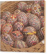 Basket With Easter Eggs Wood Print