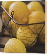 Basket With Organic Lemons Fresh From Wood Print