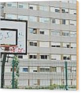 Basketball Court In A Social Neighbourhood Wood Print