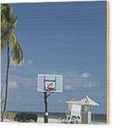 Basketball Goal On The Beach Wood Print