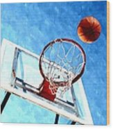Basketball Hoop And Ball 1 Wood Print by Lanjee Chee