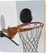 Basketball Hoop And Ball Wood Print