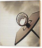 Basketball Hoop, Dramatic Sky Wood Print