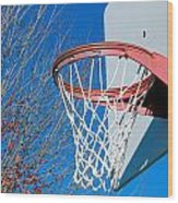 Basketball Net Wood Print by Valentino Visentini