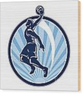 Basketball Player Dunk Ball Retro Wood Print