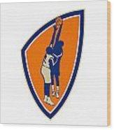 Basketball Player Dunk Block Ball Shield Retro Wood Print by Aloysius Patrimonio