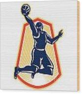 Basketball Player Dunk Rebound Ball Retro Wood Print by Aloysius Patrimonio