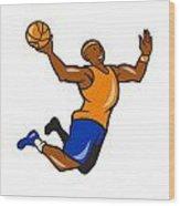 Basketball Player Dunking Ball Cartoon Wood Print by Aloysius Patrimonio