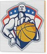 Basketball Player Holding Ball Crest Retro Wood Print by Aloysius Patrimonio
