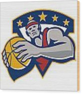 Basketball Player Holding Ball Star Retro Wood Print
