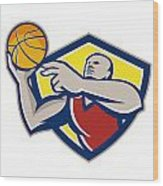 Basketball Player Laying Up Ball Retro Wood Print by Aloysius Patrimonio