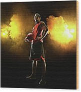 Basketball Player On Smoky Yellow Wood Print