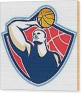 Basketball Player Rebounding Ball Retro Wood Print by Aloysius Patrimonio