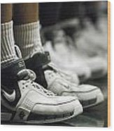 Basketball Shoes In A Row Wood Print