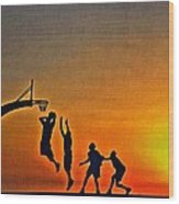 Basketball Sunrise Wood Print