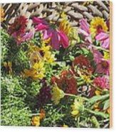 Basketful Of Flowers Wood Print