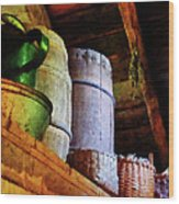 Baskets And Barrels In Attic Wood Print