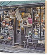 Baskets For Sale Wood Print by Heather Applegate