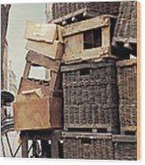 Baskets In Paris Wood Print