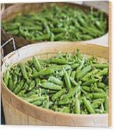 Baskets Of Fresh Picked Peas Wood Print
