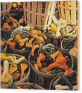 Baskets Of Gourds Wood Print