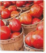 Baskets Of Tomatoes At A Farmers Market Wood Print by Teri Virbickis