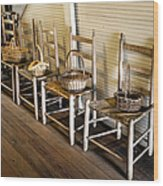 Baskets On Ladder Back Chairs Wood Print by Lynn Palmer