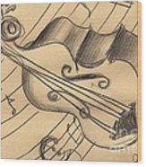 Bass Doodle Wood Print