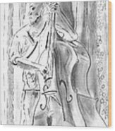 Bass Fiddle Blues Wood Print by Elizabeth Briggs
