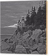 Bass Harbor Black And White   Wood Print