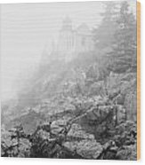 Bass Harbor Head Light In Fog Wood Print