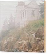 Bass Harbor In Fog - Vertical Wood Print