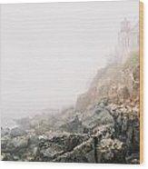 Bass Harbor In Fog Wood Print