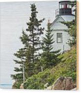 Bass Harbor Light Station Overlooking The Bay Wood Print