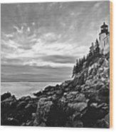 Bass Harbor Lighthouse At Dusk Wood Print