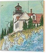 Bass Harbor Lighthouse Me Nautical Chart Map Art Cathy Peek Wood Print