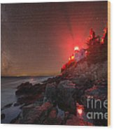 Bass Harbor Lighthouse Milky Way Wood Print