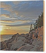 Bass Harbor Lighthouse Sunset Landscape Wood Print