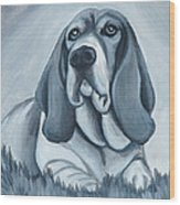 Basset Hound In Black And White Wood Print