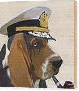Basset Hound Seadog Wood Print